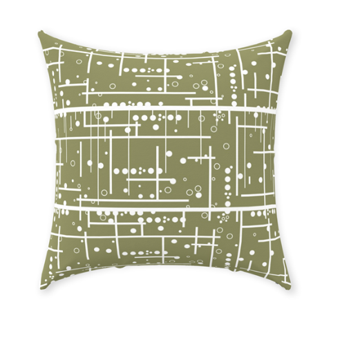 Olive Green Decorative Throw Pillow